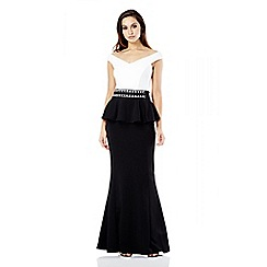Quiz - Cream and Black Peplum Fishtail Maxi Dress