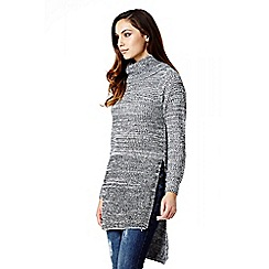Quiz - Grey Knit Roll Long Sleeve Jumper