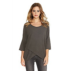 Quiz - Grey  knit 3/4 sleeve zip side top