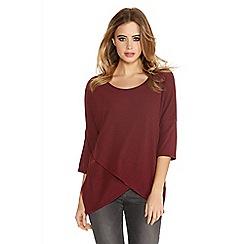 Quiz - Burgundy knit 3/4 sleeve zip side top