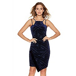 Quiz - Royal Blue Glitter Asymetrical Bodycon Dress