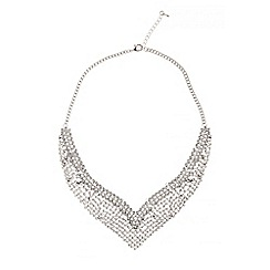 Quiz - Silver diamante v necklace