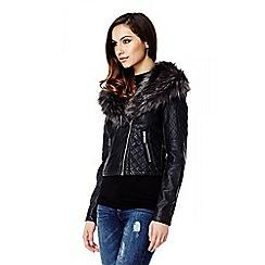 Quiz - Black PU Stone Faux Fur Biker Jacket