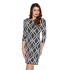 Quiz - Grey Diamond Brillo 3/4 Sleeve Dress