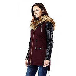 Quiz - Berry And Black Canvas Faux Fur Hood Jacket