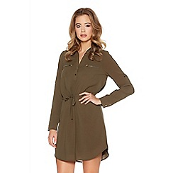 Quiz - Khaki Tie Waist Shirt Dress
