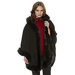 Quiz - Black Fur Trim Hooded Cape
