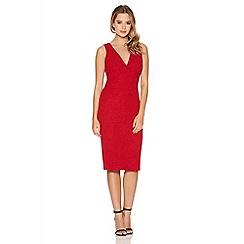 Quiz - Red textured v neck glitter dress