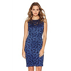 Quiz - Royal Blue Glitter Lace Bodycon Dress