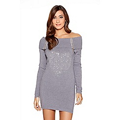 Quiz - Grey Light Knit Off Shoulder Diamante Heart Jumper