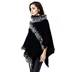 Quiz - Black Faux Fur Poncho