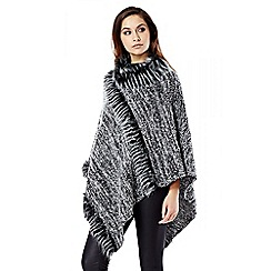 Quiz - Grey Faux Fur Poncho