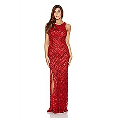 Quiz - Red  Sequin Chevron Zig Zag Maxi Dress