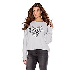 Quiz - Light Grey Fuzzy Sequin Heart Jumper