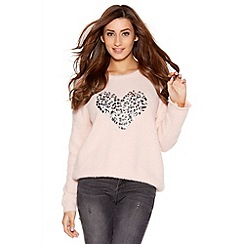 Quiz - Pale Pink Fuzzy Sequin Heart Jumper