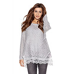 Quiz - Grey sequin knit chiffon long sleeve jumper