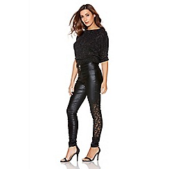 Quiz - Black Shiny PU Stretch Skinny Lace Trousers