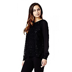 Quiz - Black Sequin Knit Chiffon Sleeve Jumper