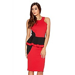 Quiz - Red And Black Double Peplum Panel Dress