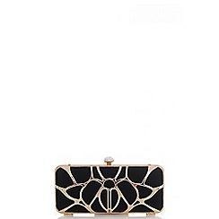Quiz - Gold And Black Cage Box Clutch Bag