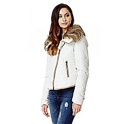 Quiz - Cream Pad Tan Pipe Fur Collar Jacket
