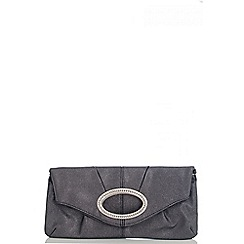 Quiz - Black Diamante Oval Design Clutch Bag