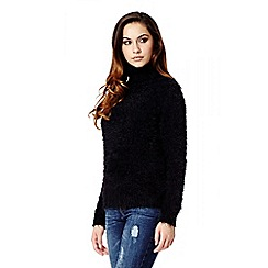 Quiz - Black Turtle Neck Fluffy Jumper