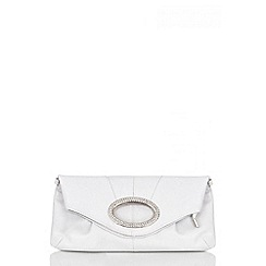 Quiz - Silver Diamante Oval Design Clutch Bag