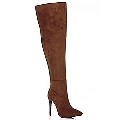 Quiz - Tan Pointed Toe Over The Knee Boots