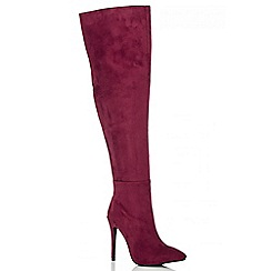 Quiz - Wine Pointed Toe Over The Knee Boots