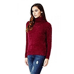 Quiz - Wine Turtle Neck Fluffy Jumper