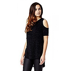 Quiz - Black Brillo Cut Out Shoulder Top