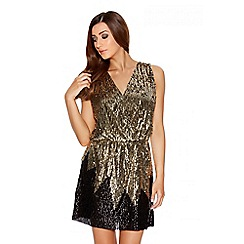 Quiz - Gold And Black Sequin Cross Over Short Dress
