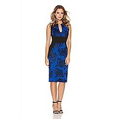 Quiz - Royal Blue Glitter Foral Midi Dress