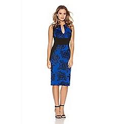 Quiz - Royal Blue Glitter Foral Midi Dress