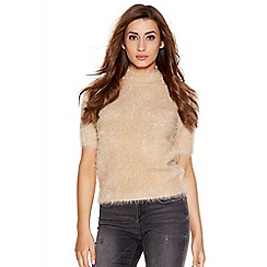 Quiz - Beige Fuzzy 1/2 Sleeve Turtle Neck Jumper
