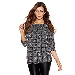 Quiz - Black And Silver Brillo Snowflake Print Batwing Top