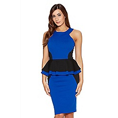 Quiz - Royal Blue Double Peplum Panel Dress