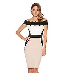 Quiz - Cream Contrast Lace Trim Bardot Dress
