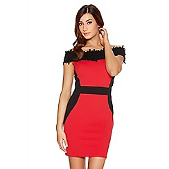 Quiz - Red Contrast Lace Trim Bardot Dress