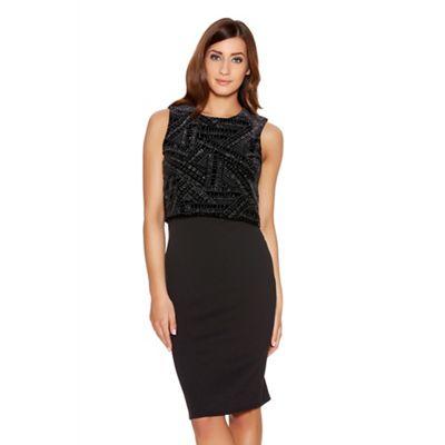 Quiz Black Glitter Velvet Two Layer Dress - . -