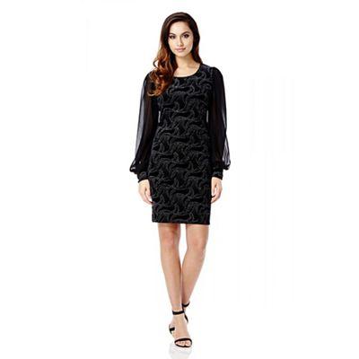 Quiz Black And Silver Velvet Glitter Chiffon Sleeve Dress