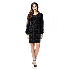 Quiz - Black And Silver Velvet Glitter Chiffon Sleeve Dress