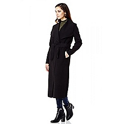 Quiz - Black Felt Tie Belt Coat