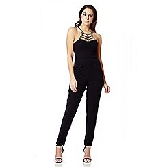 Quiz - Black Crepe Neck Trim Jumpsuit
