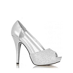 Quiz - Silver Diamante Mesh Platform Shoes