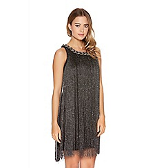 Quiz - Black Fringe Pleated Necklace Dress