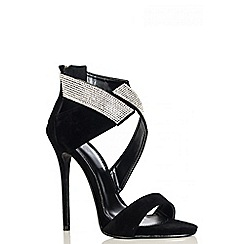 Quiz - Black Faux Suede Diamante Wrap Sandals