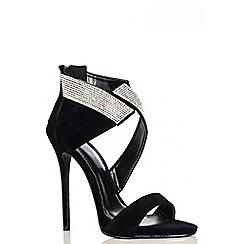 Quiz - Black Faux Suede Diamante Wrap Sandals