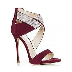 Quiz - Wine Faux Suede Diamante Wrap Sandals